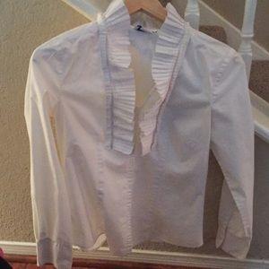 Ann Taylor loft white blouse ruffle collar